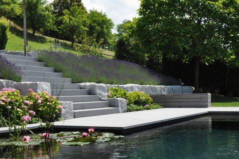 Wassergarten mit Schwimmteich Schweiz